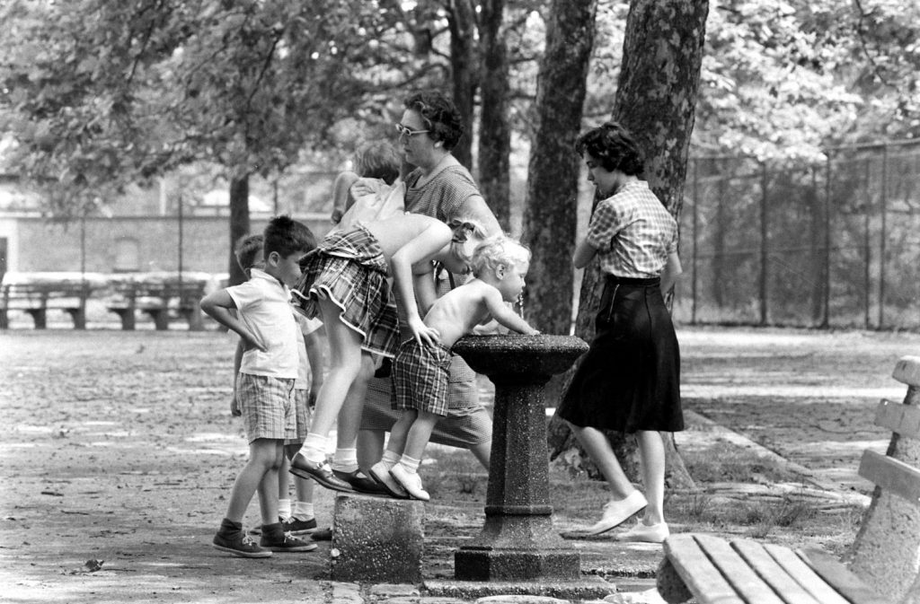 Water fountain, Central Park, 1961.