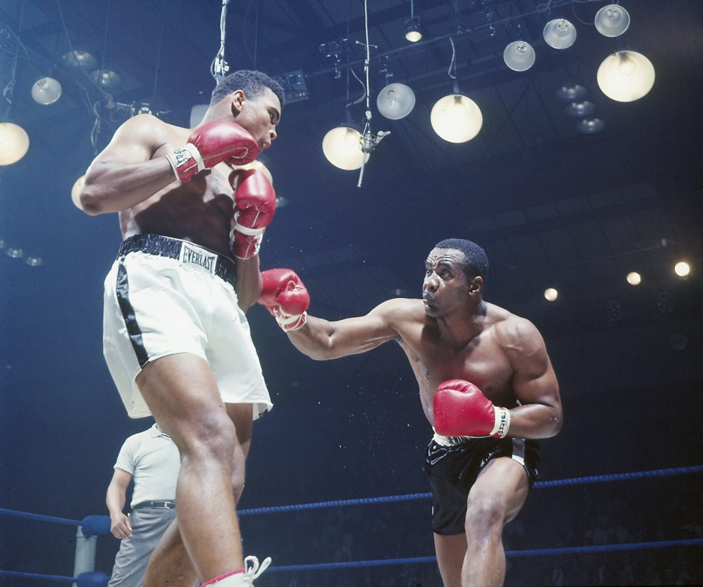 Muhammad Ali (left) and Sonny Liston, Lewiston, Maine, May 25, 1965.