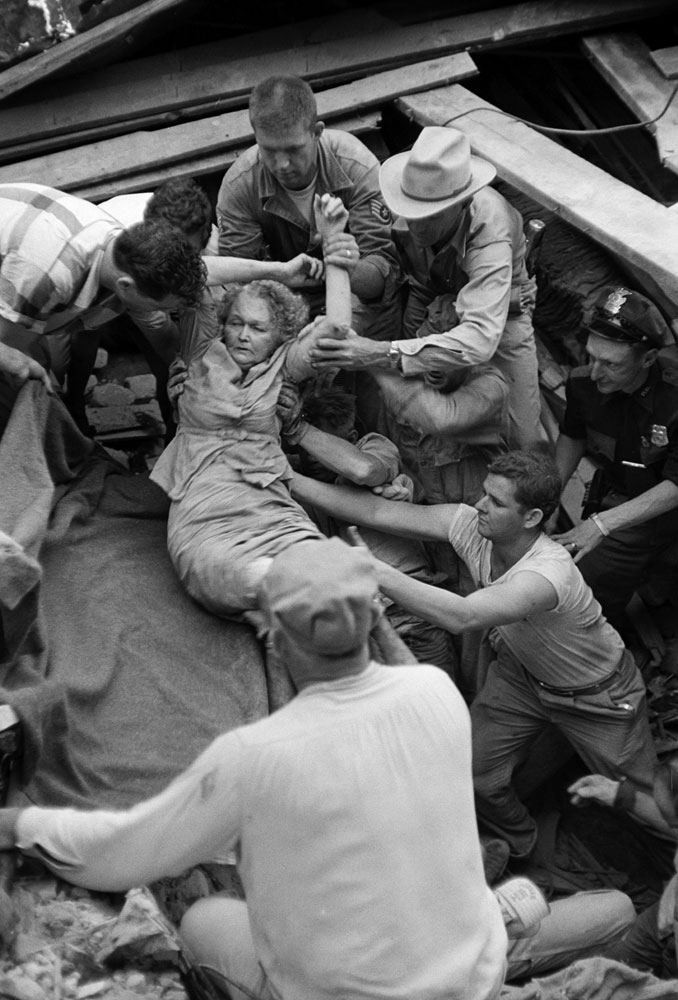 Lillie Matkin, Waco tornado survivor, is freed from rubble, May 1965.