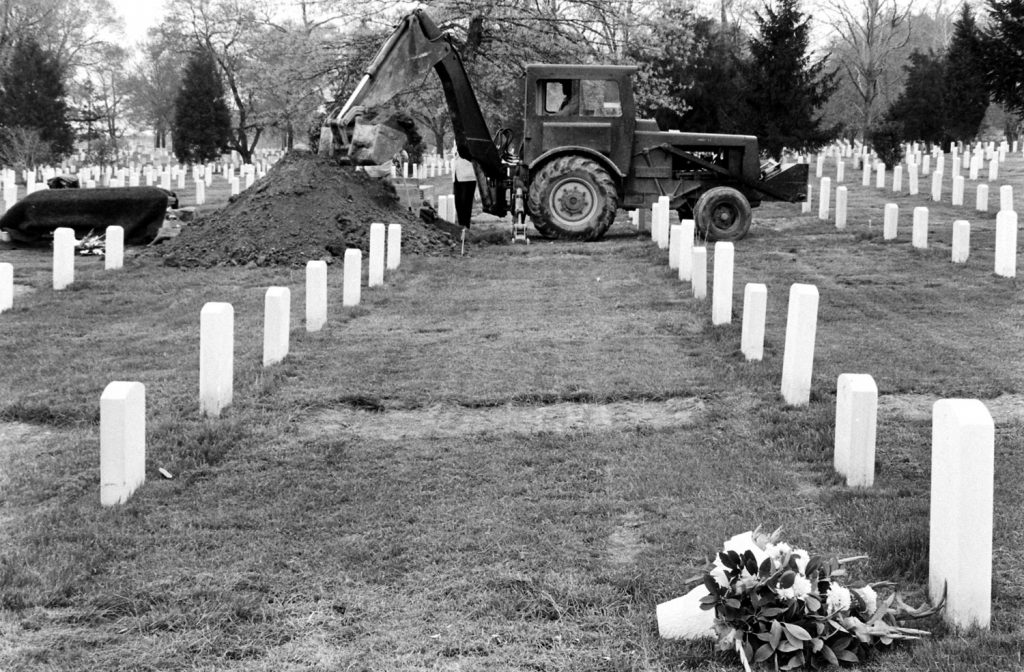 Digging a grave, Arlington National Cemetery, 1965.