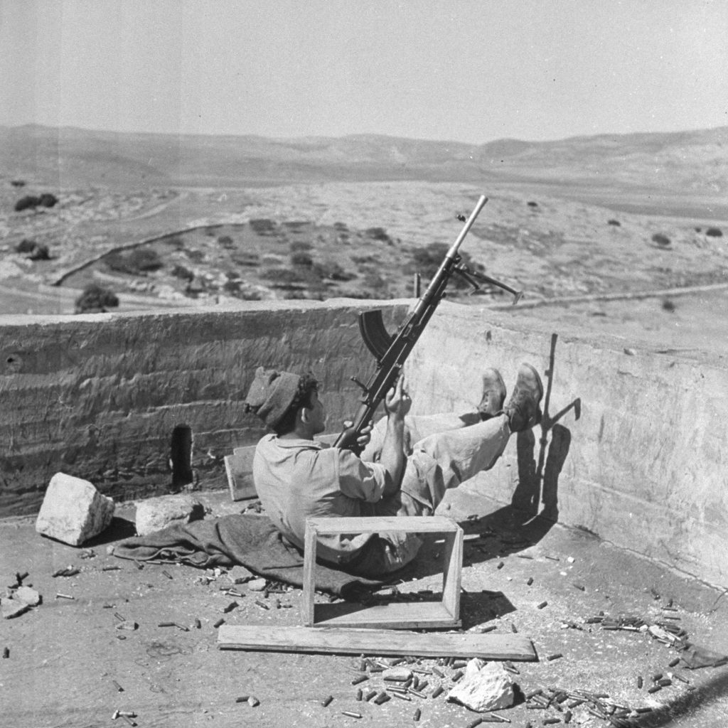 An Israeli soldier, on guard shortly after the establishment of the state of Israel, exact location unknown, May 1948.