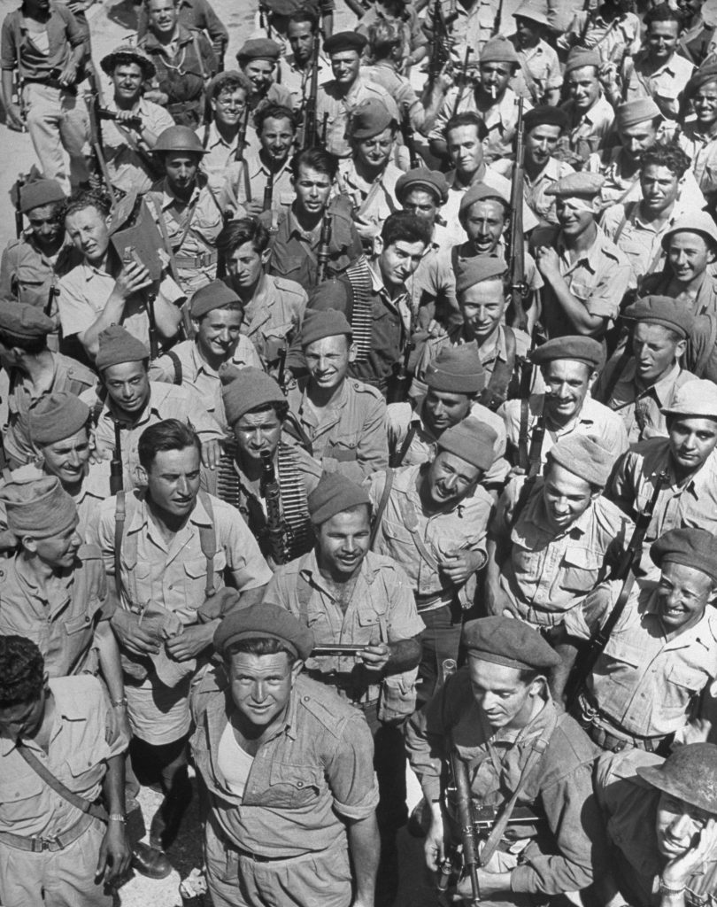 Israeli soldiers, seen shortly after the establishment of the state of Israel, exact location unknown, May 1948.