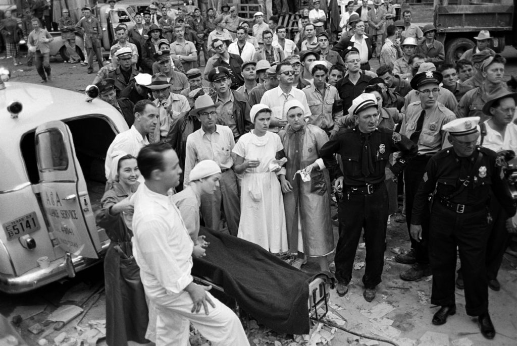 A crowd around an ambulance in the aftermath of the 1953 Waco tornado that killed 114 people.