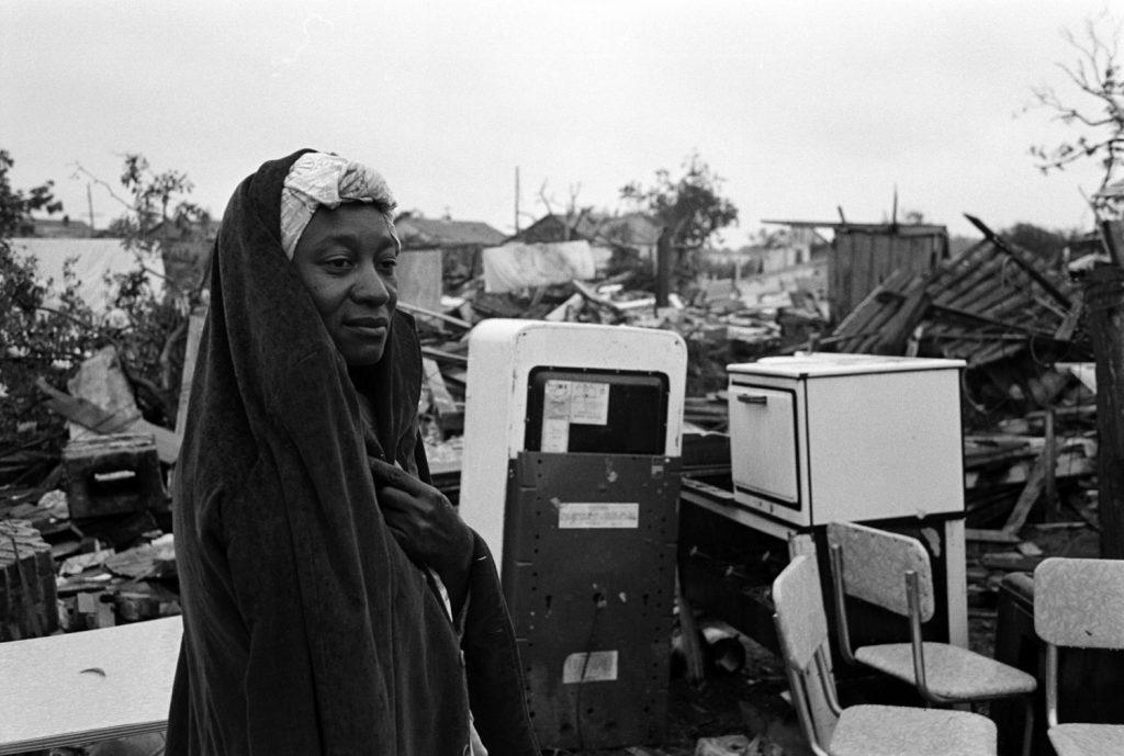 A survivor surveys the destruction in Waco, Texas, after an F5 tornado hit, May 1953.