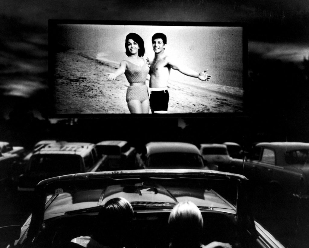 Annette Funicello and Frankie Avalon starred in Beach Blanket Bingo, shown at a drive-in movie theater in Florida, 1965.