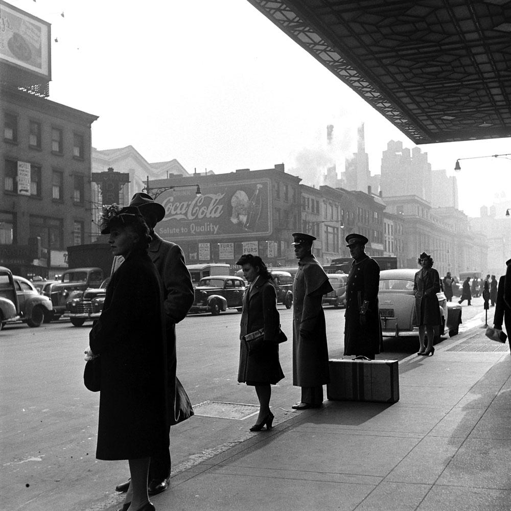 Scene in New York City, 1944.