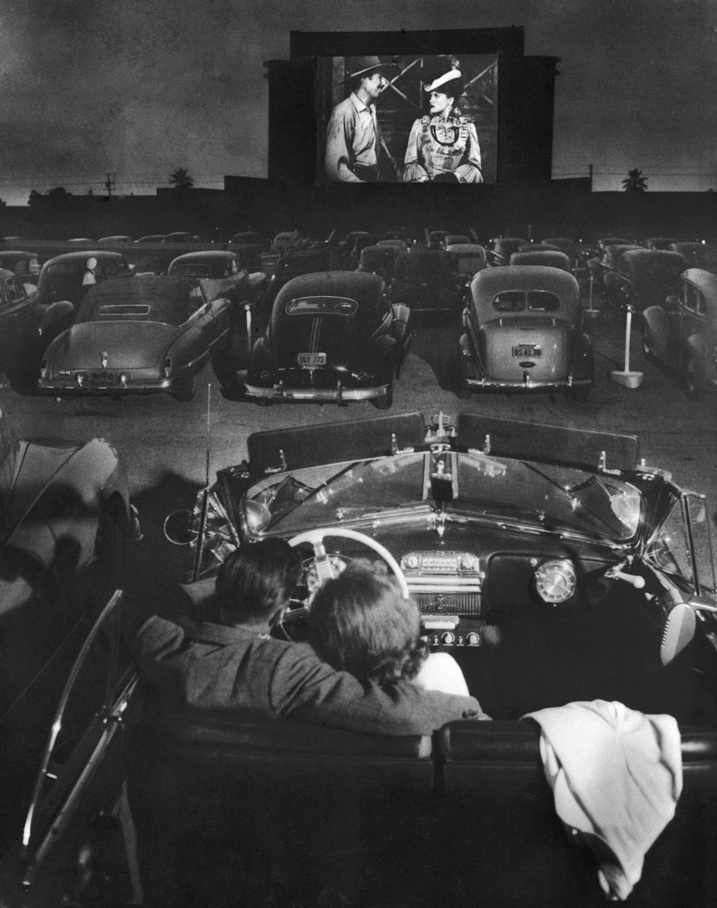 Drive-in theater, Los Angeles, 1949.