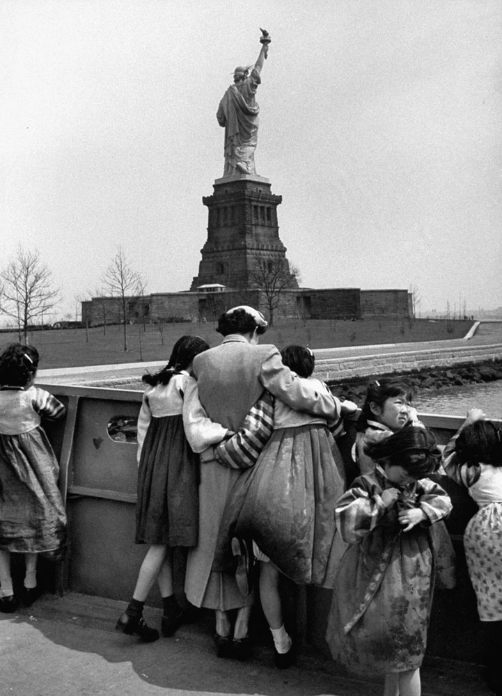 Korea's Children's Choir visits the Statue of Liberty, 1954.