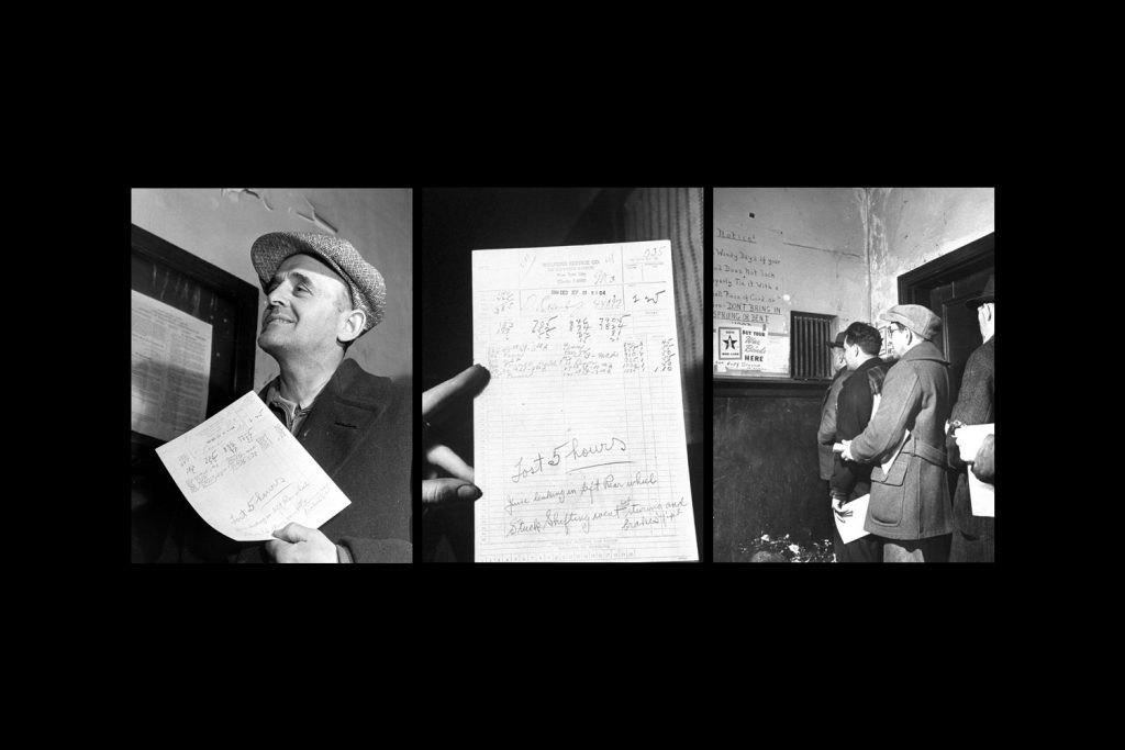 Close-up of typical cab driver's report including locations and fares collected during his day's work; taxicab drivers lined up at company's garage to turn in money collected in fares during the day (right), New York City, 1944.