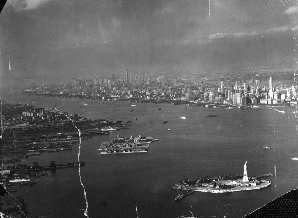 Statue of Liberty and New York Harbor, 1939.