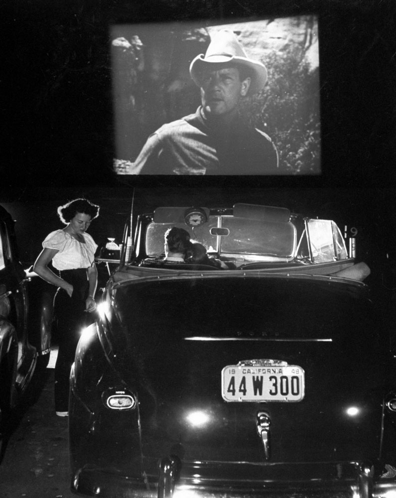 A Joel McCrea movie at the Rancho Drive-in Theater, San Francisco, 1948.