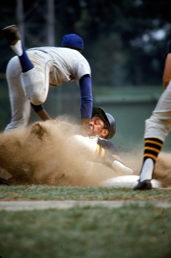 Pittsburgh's Willie Stargell slides against the Mets, 1969.