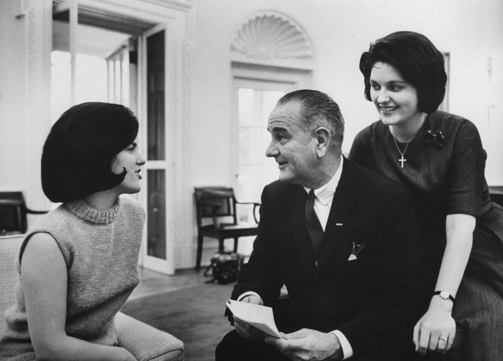 Lyndon Johnson with daughters Lucy and Lynda, 1964.
