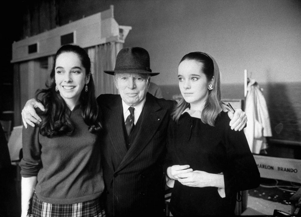 Charlie Chaplin and daughters Josephine and Victoria, 1966.