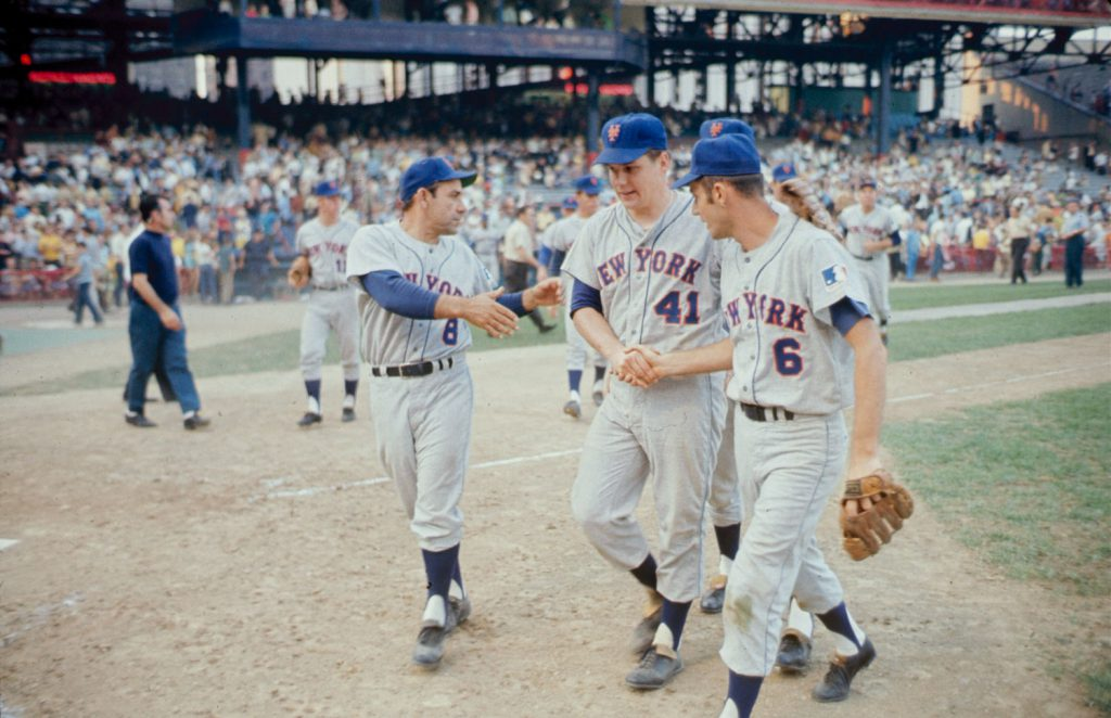 Yogi Berra, Tom Seaver, Al Weiss, 1969.