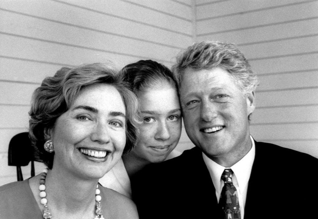 Bill Clinton with daughter Chelsea and wife Hillary, 1993.