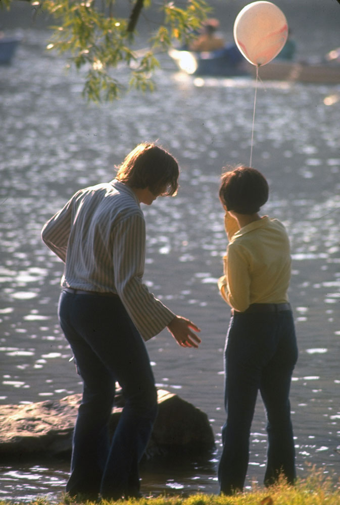 Young couple with a balloon in Central Park, 1969.