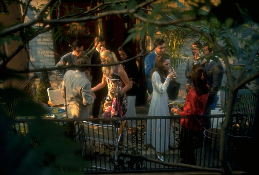 Private party on the balcony of a New York City apartment building, summer 1969.