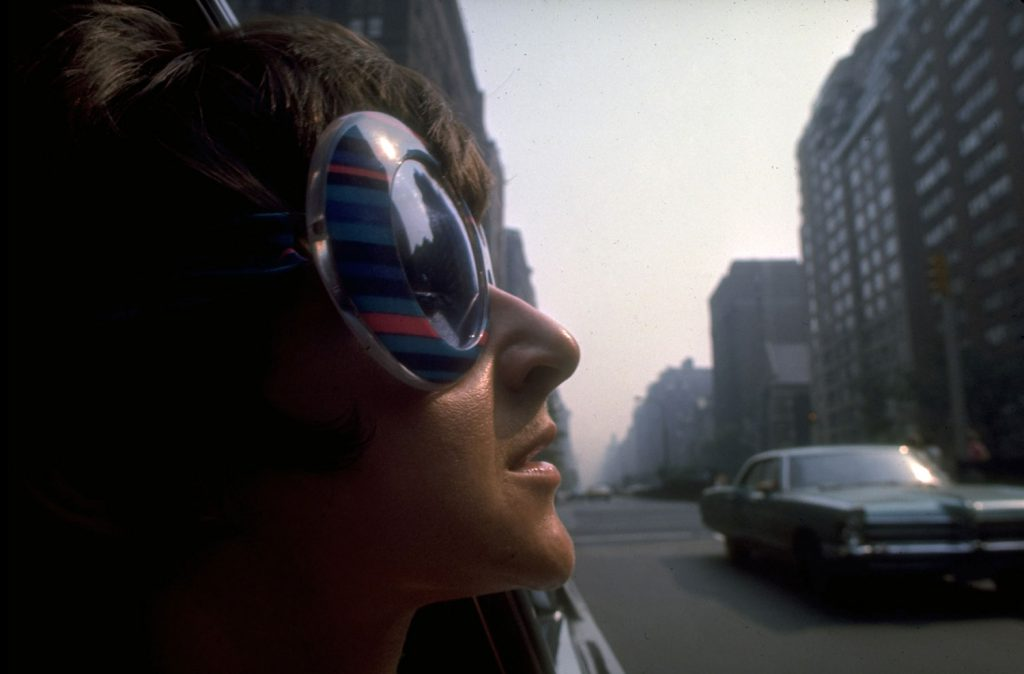 Young woman wearing fashionable sunglasses, New York, summer 1969.
