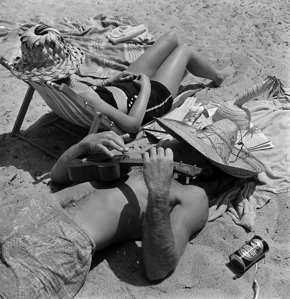 Beach bums, San Onofre, Calif., 1950.
