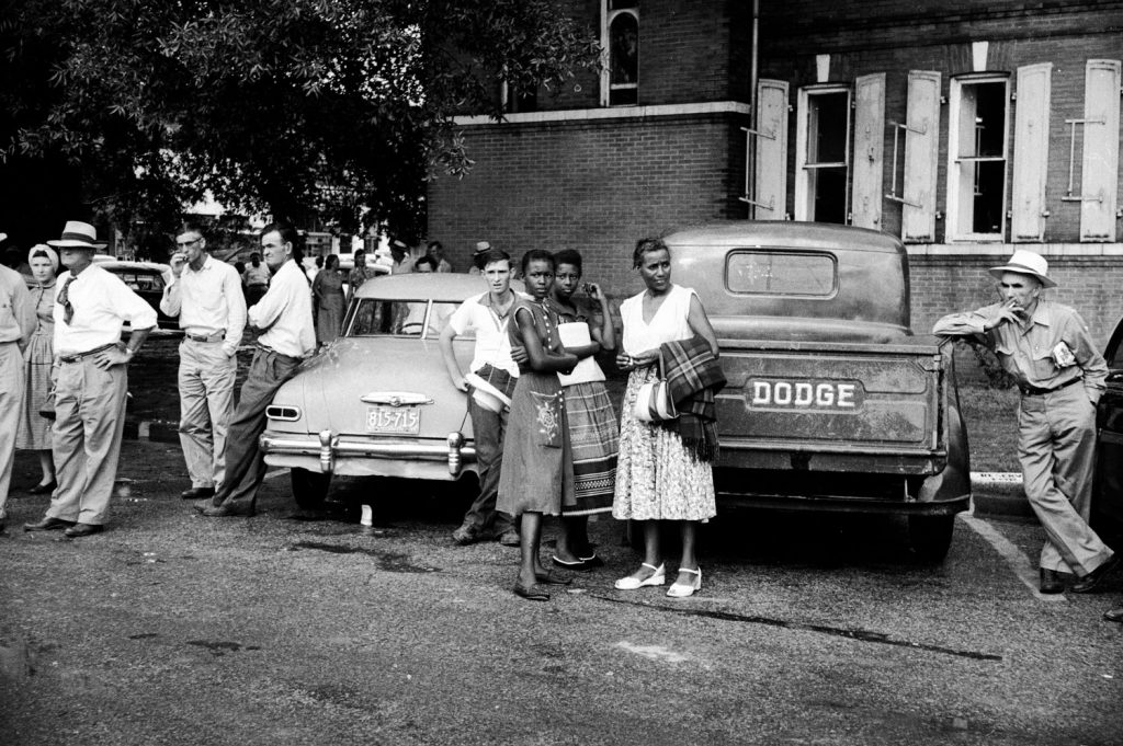 A crowd outside the Sumner, Miss., courthouse during the trial of Roy Bryant and J.W. Milam for the kidnapping and murder of 14-year-old Emmett Till.