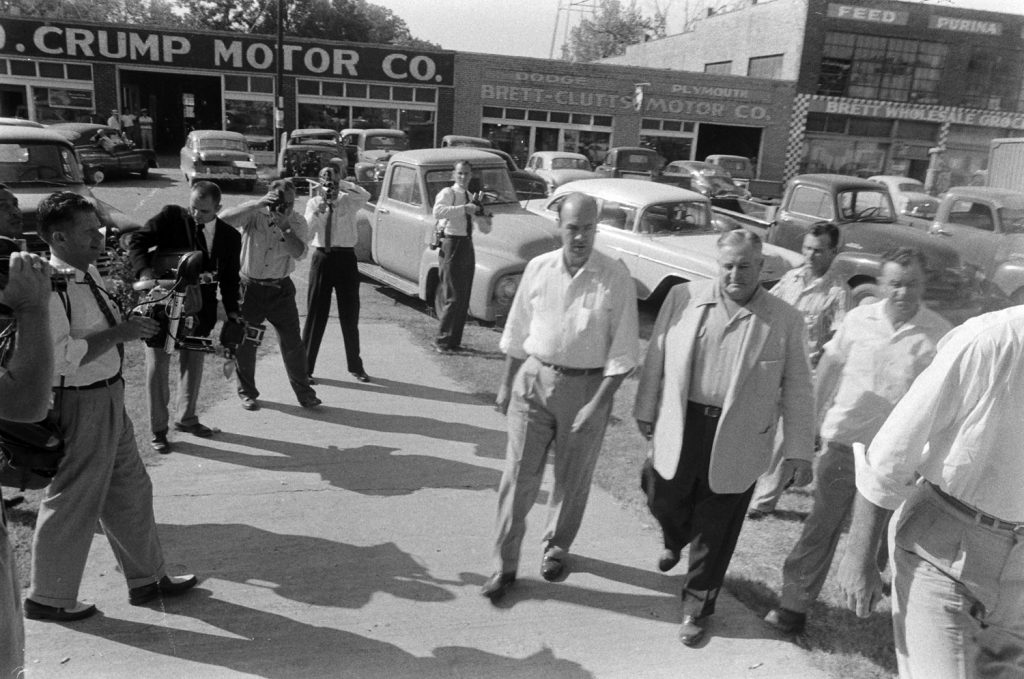 Defendant J.W. Milam arrives at his trial in Sumner, Miss., where he is charged with the kidnapping and murder of Emmett Till.