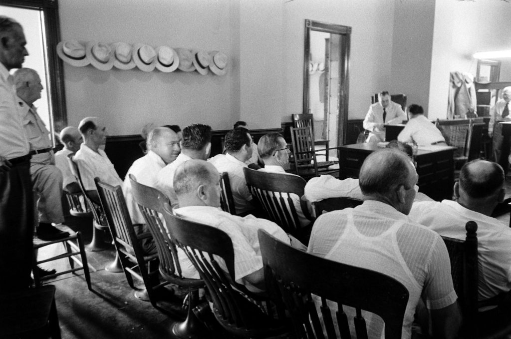 A scene during the trial of Roy Bryant and J.W. Milam for the kidnapping and murder of Emmett Till.