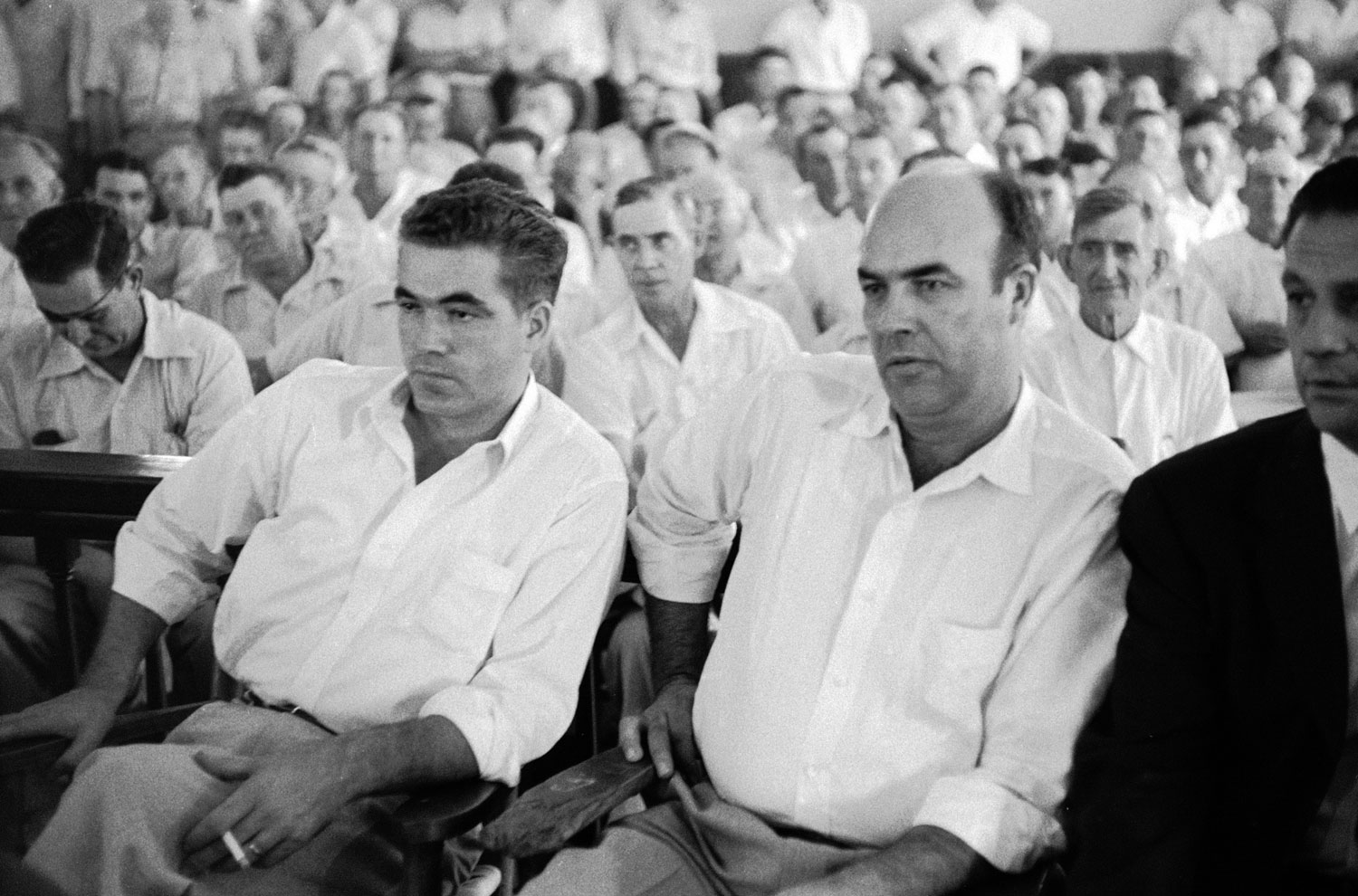 Defendants Roy Bryant, left, and J.W. Milam during their trial for the kidnapping and murder of Emmett Till.