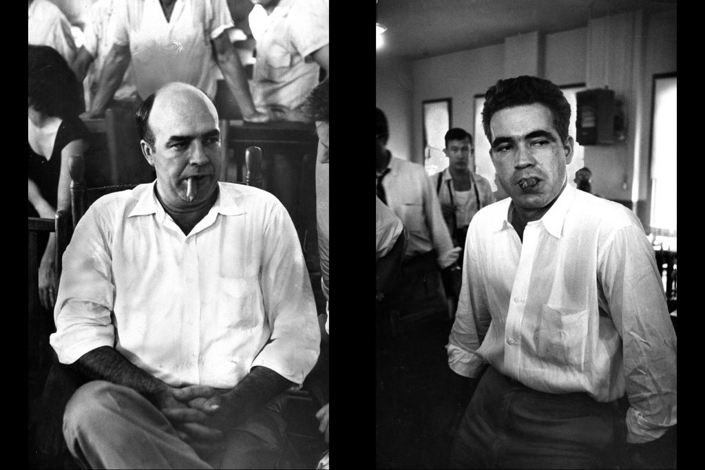 Defendants J.W. Milam (left) and Roy Bryant (right)sit during their trial for the kidnapping and murder of Emmett Till.