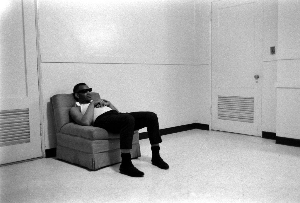 Ray Charles rests before a show, 1966.