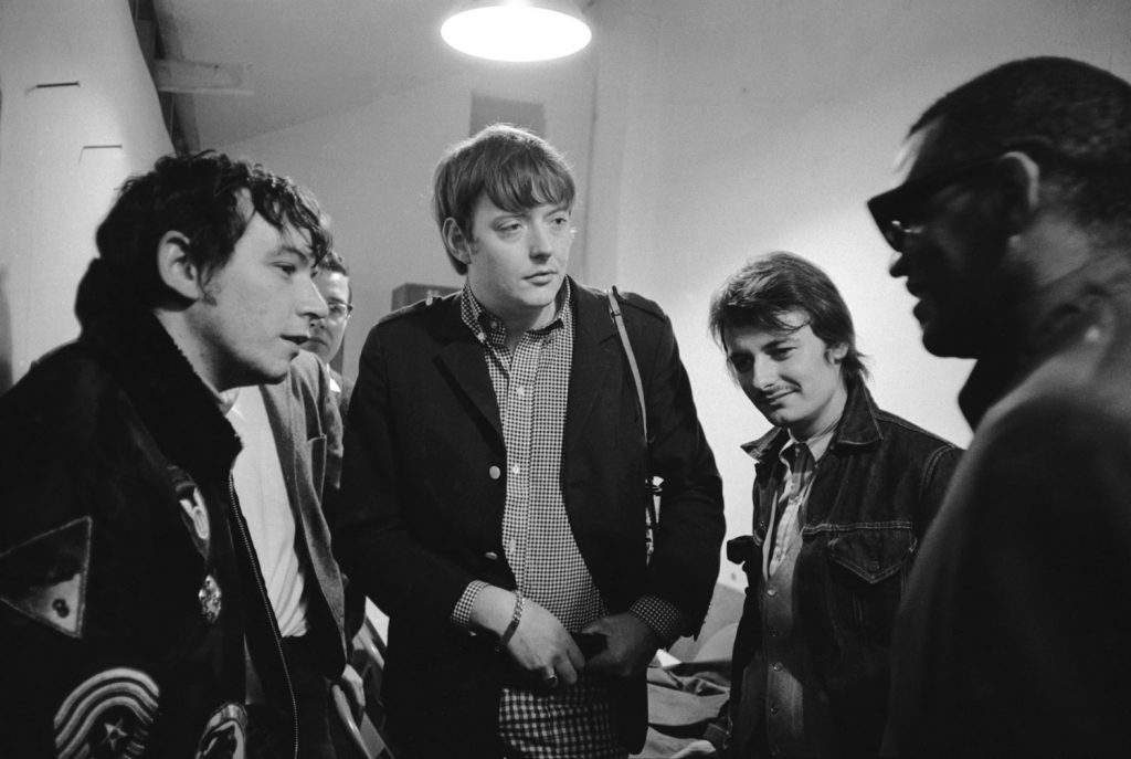 Ray Charles backstage talking with Eric Burdon and the Animals, 1966.