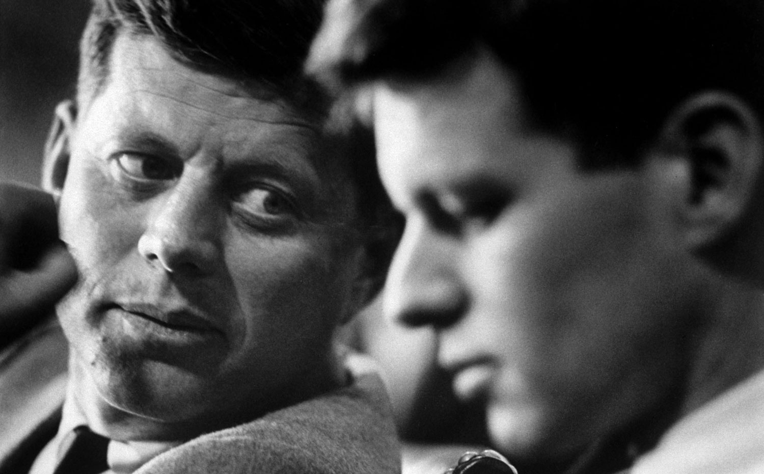 John and Robert Kennedy at a hearing of a Senate select committee on labor racketeering, 1957.