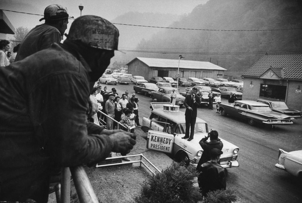 Sen. John Kennedy campaigns in West Virginia, 1960.