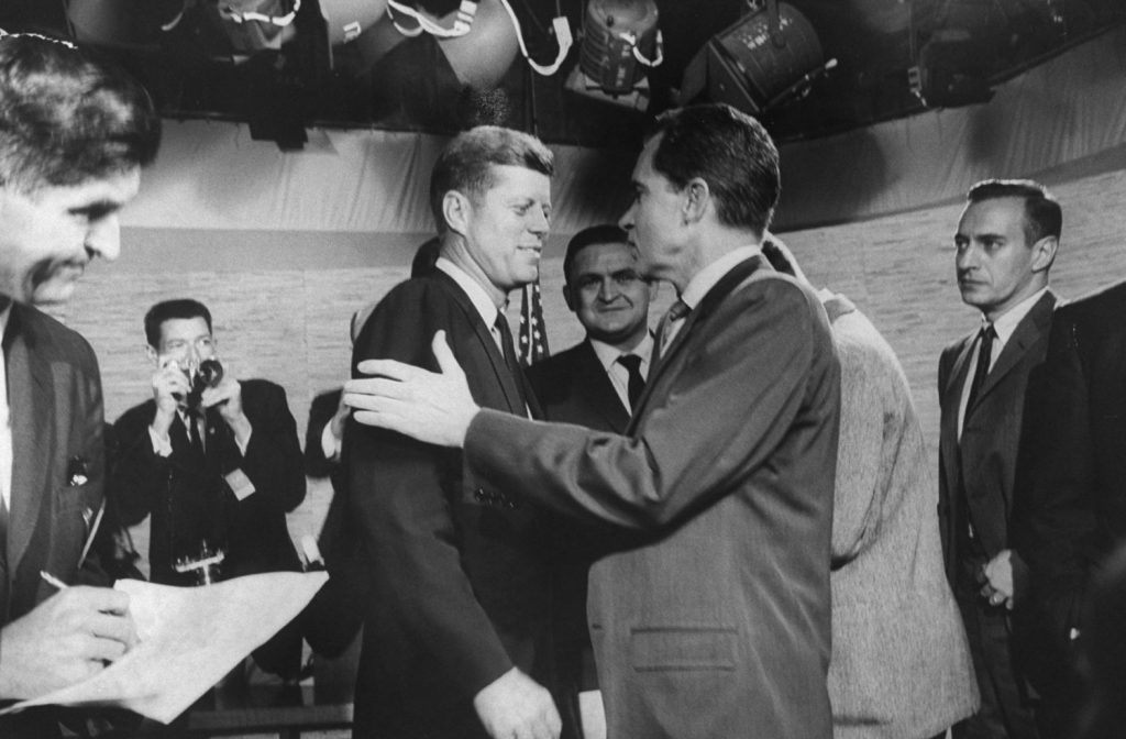 Presidential candidates John F. Kennedy and Richard M. Nixon at the time of their famous television debates, 1960.