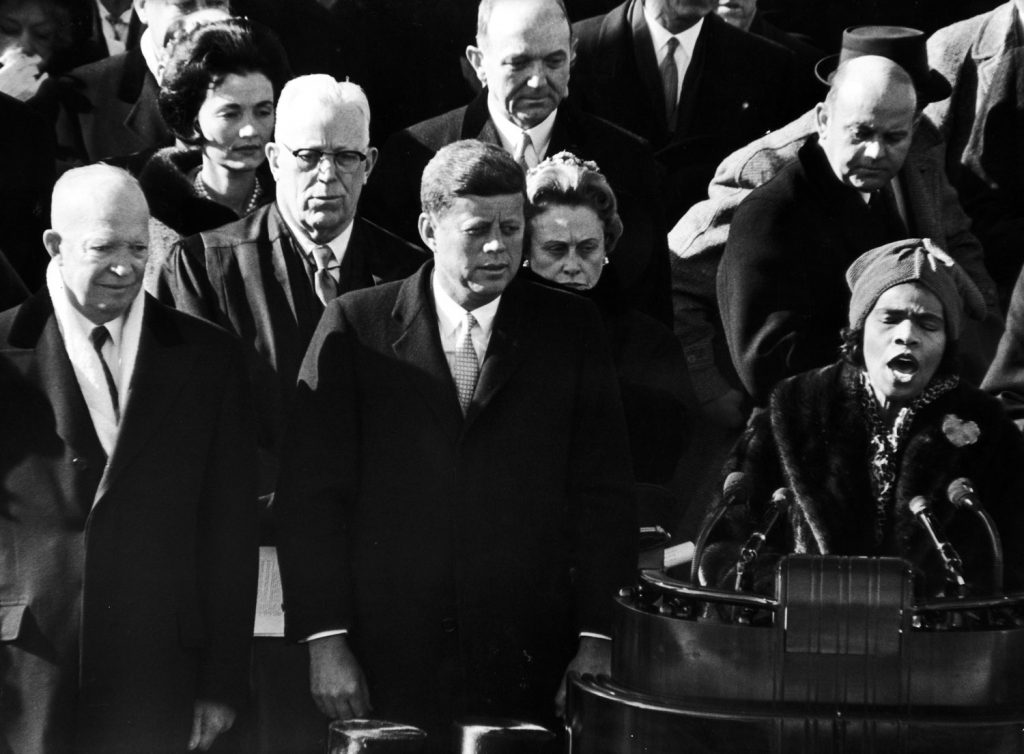 Marian Anderson sings at President John F. Kennedy's inauguration, 1961.