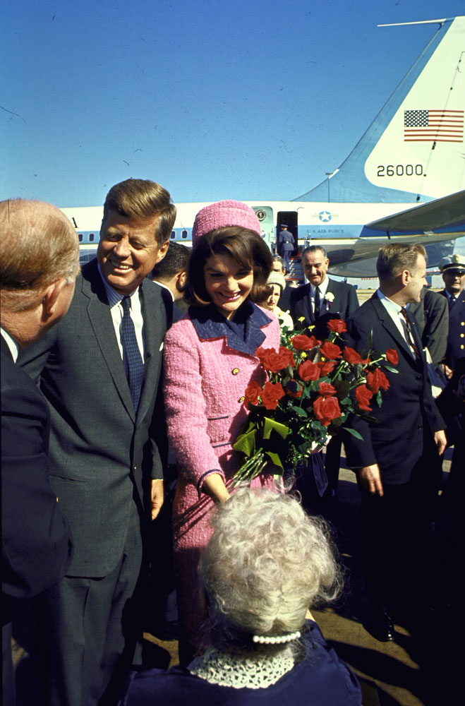 John and Jackie Kennedy at Love Field in Dallas, Texas, on November 22, 1963.