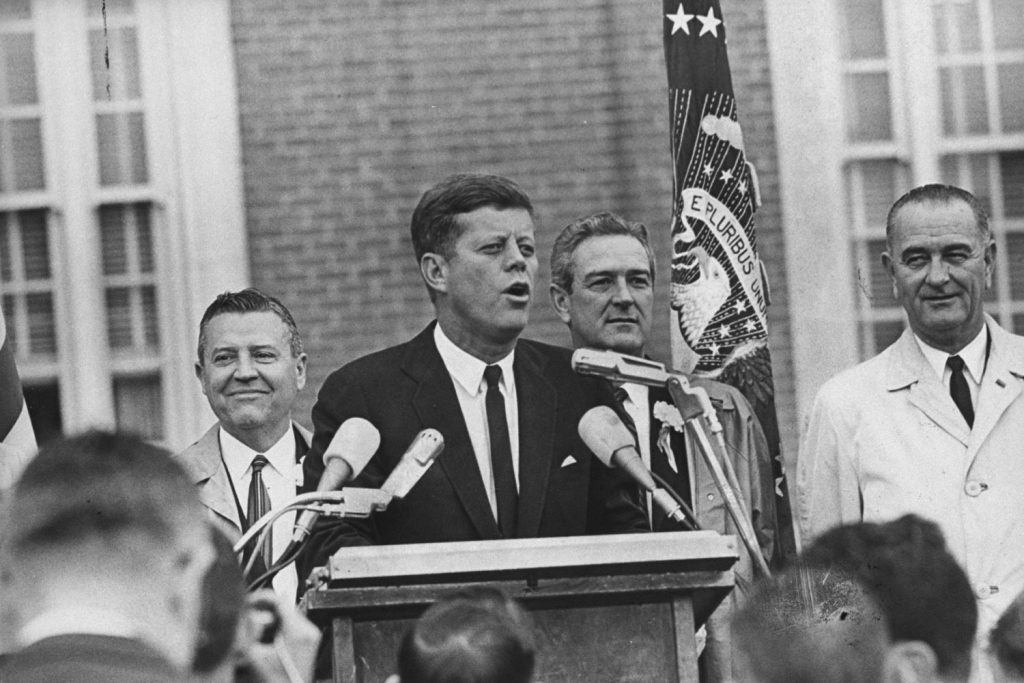 President John Kennedy delivers a brief speech outside the Hotel Texas in Fort Worth, Nov. 22, 1963, shortly before flying to Dallas.