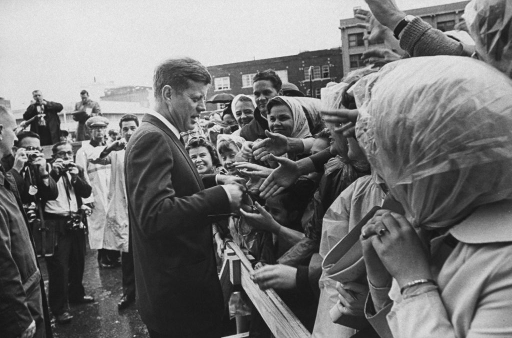 President John Kennedy greets admirers in Fort Worth, Texas, Nov. 22, 1963, shortly before flying to Dallas.