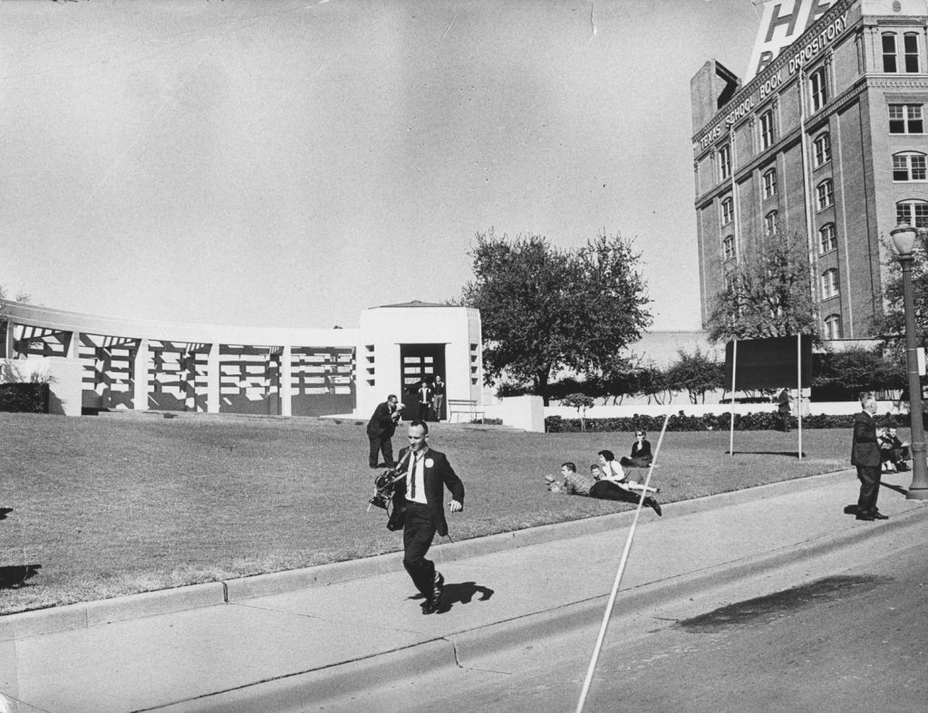 The scene at Dealey Plaza in Dallas in the moments after John Kennedy was shot, Nov. 22, 1963.