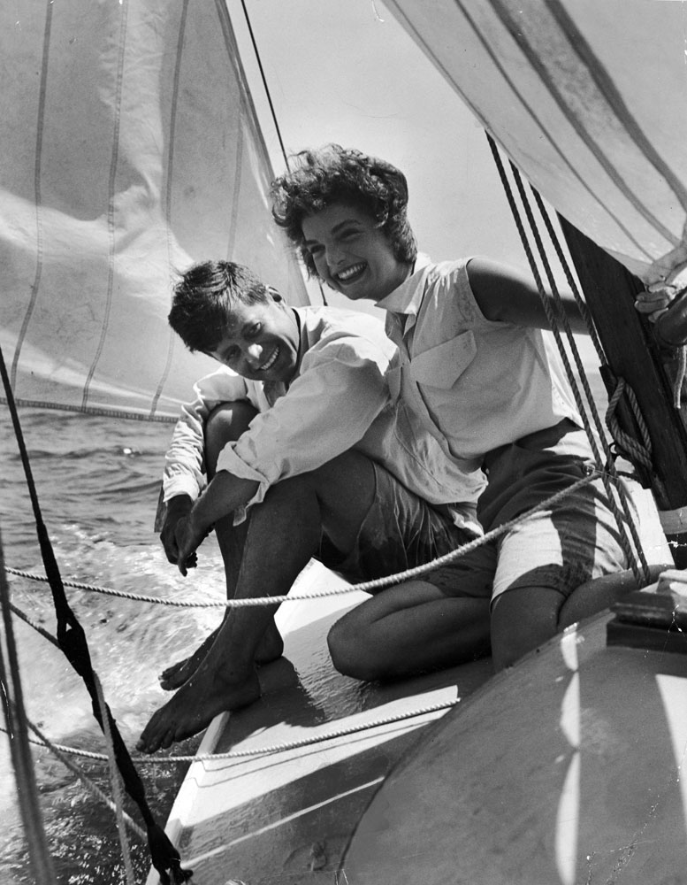 Sen. John Kennedy in Cape Cod with his fiancee, Jacqueline Bouvier, 1953.
