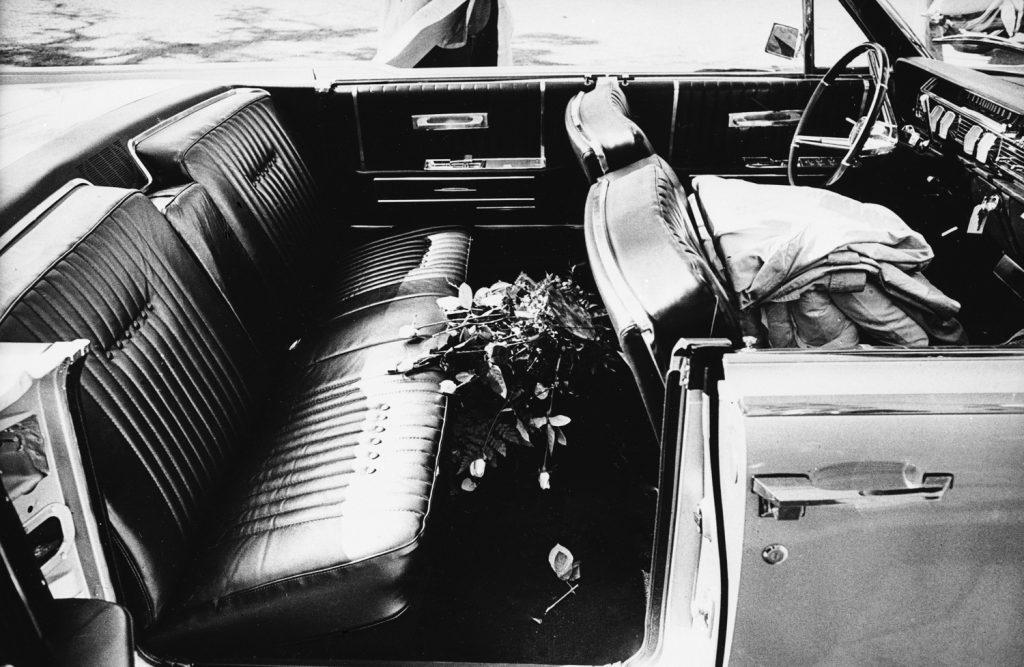 Vice President Lyndon Johnson's car at Parkland Memorial Hospital, Dallas, Nov. 22, 1963.