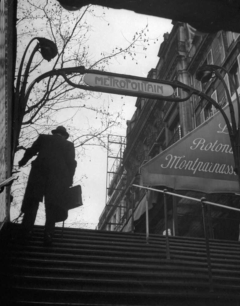 A man exits a Paris Metro station, 1946.