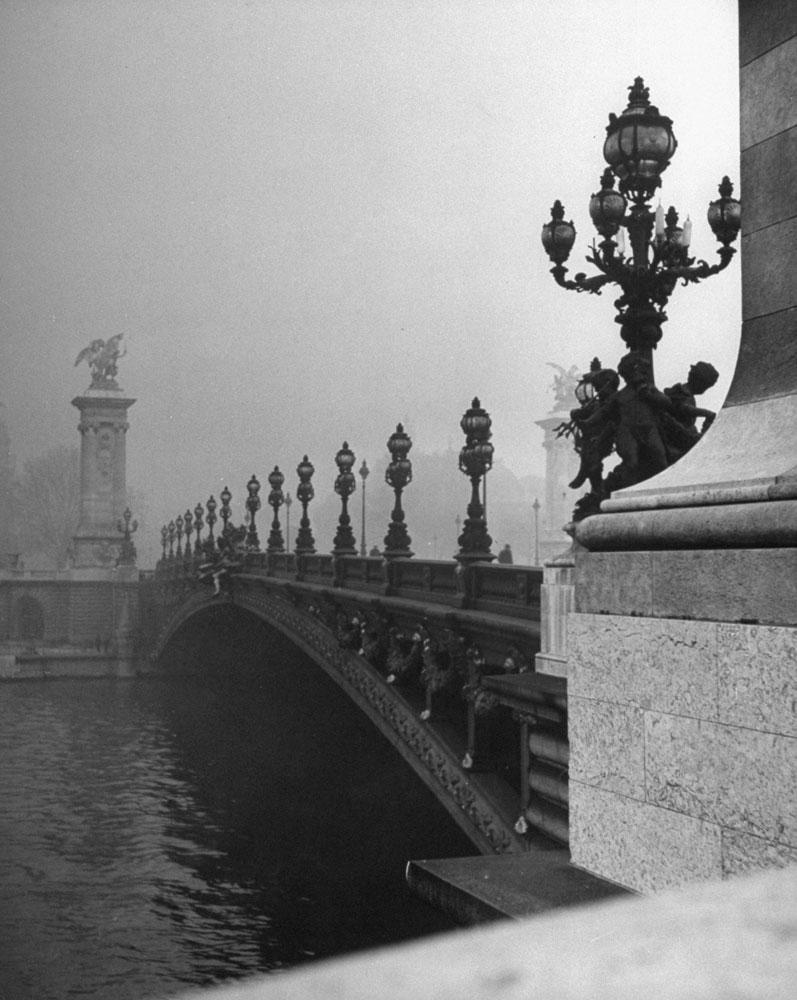 View across the Pont Alexandre III bridge toward the Grand Palace , Paris, 1946.