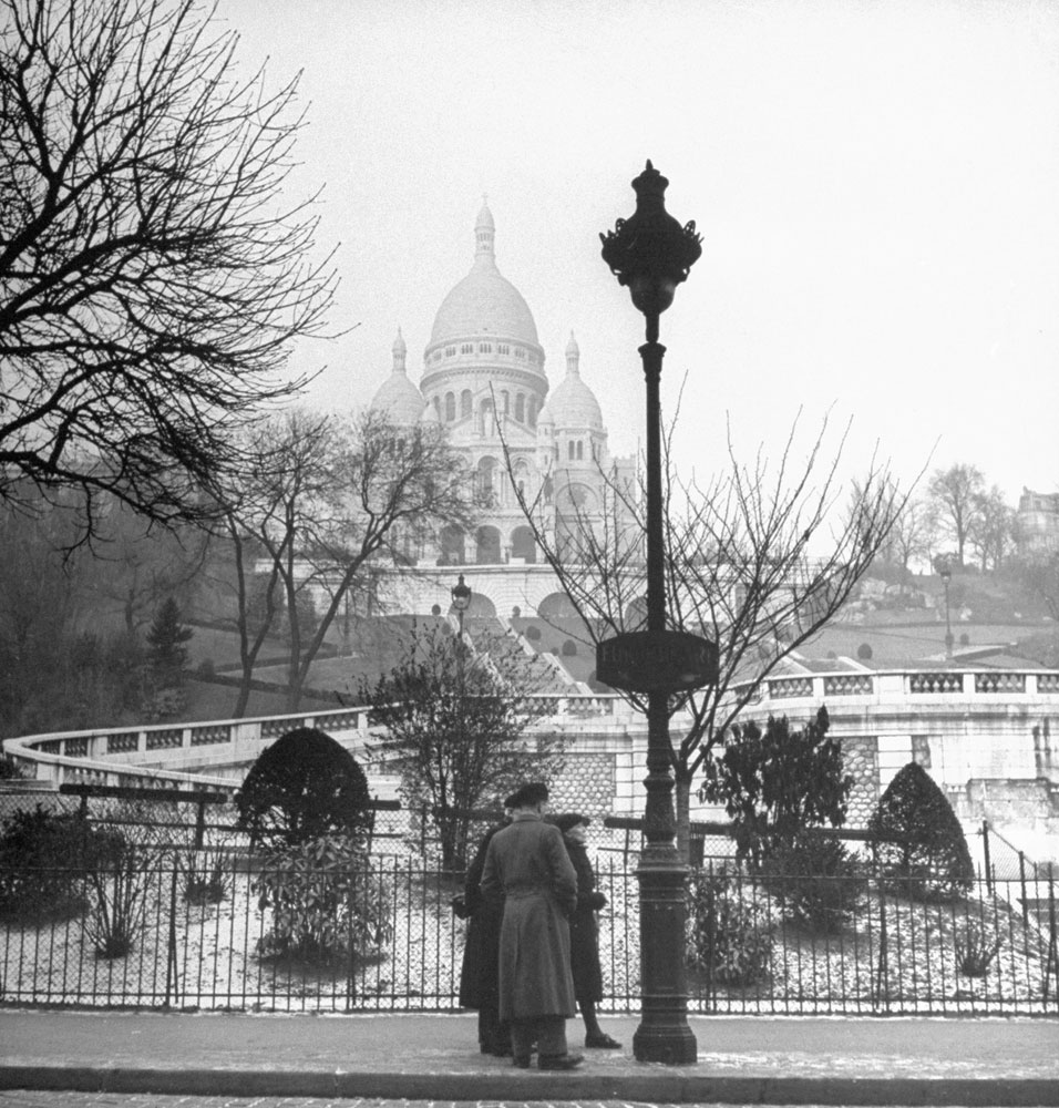 View of the Basilica of the Sacred Heart of Paris, commonly known as Sacré-Coeur, 1946.