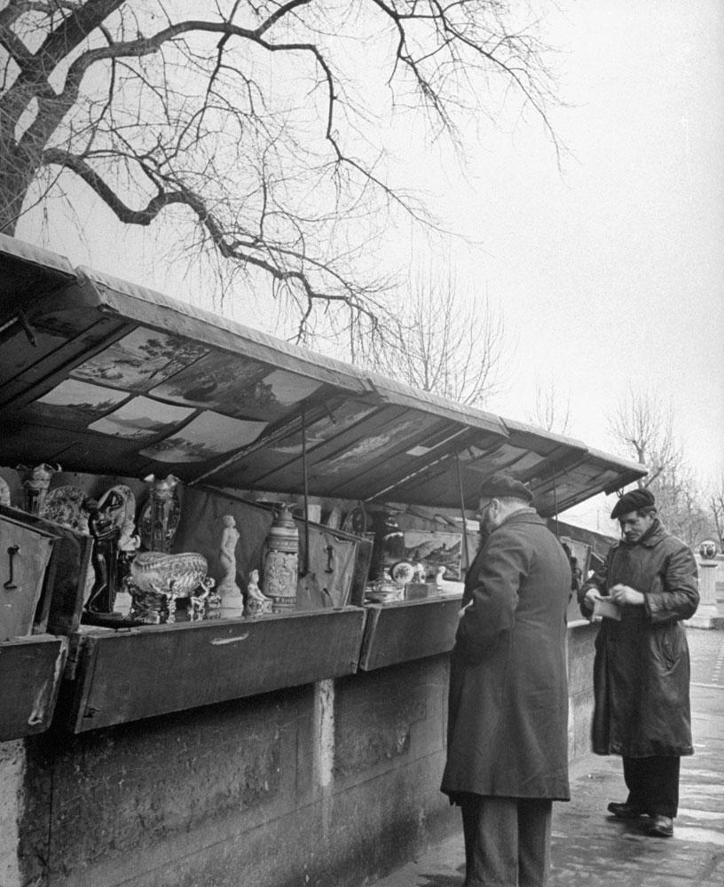 Paris' famed stalls along the Seine, 1946.