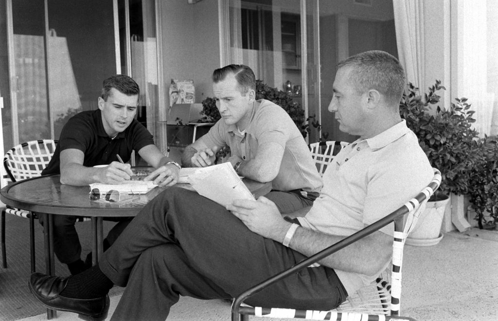 Apollo I astronauts (l-r) Roger Chaffee, Ed White and Gus Grissom, Fla.