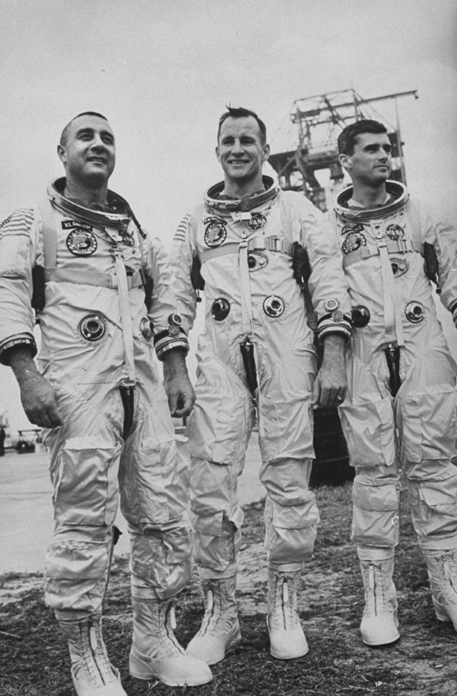 Apollo 1 astronauts (l-r) Gus Grissom, Ed White and Roger Chaffee, photographer the week before the fatal fire at Pad 34, from which their mission was to have launched in February 1967.