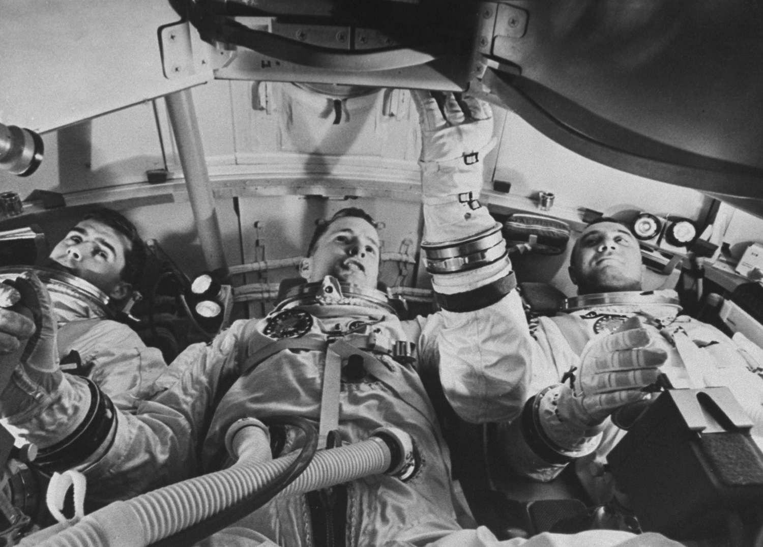 Apollo 1 astronauts Roger Chaffee, Ed White and Gus Grissom, 1967.