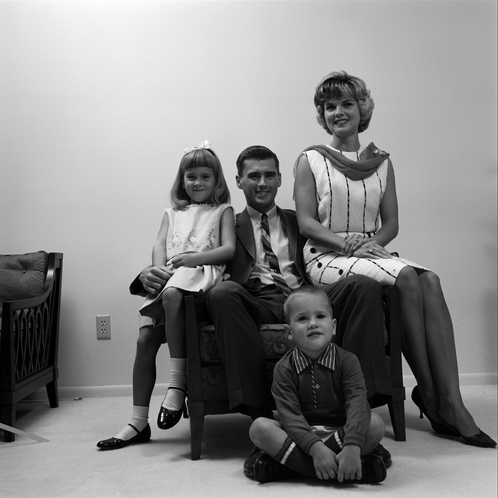 Roger Chaffee with his wife Martha and their children, Sheryl and Stephen, in their Houston home, 1965.