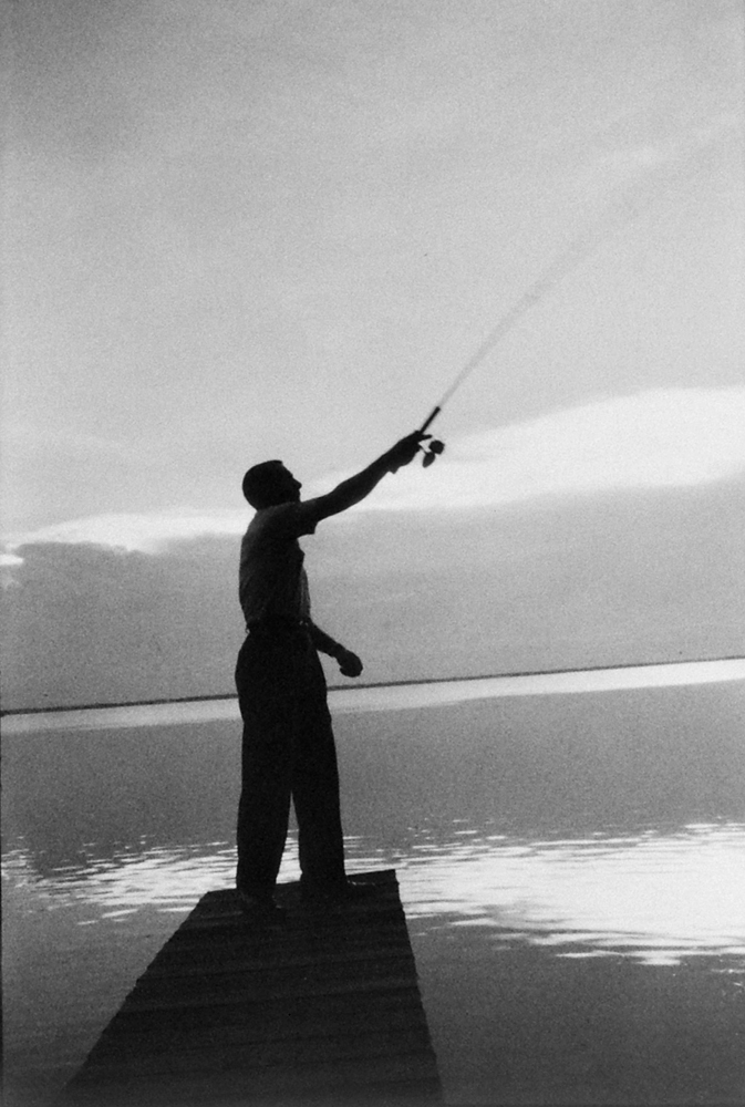 Gus Grissom often found relief from the pressures of being an astronaut simply by going fishing. He casts for sea bass near Cape Kennedy.